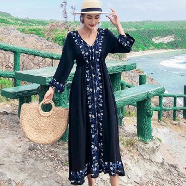 大人可愛い 夏ワンピース 大きいサイズ マキシ丈 刺繍 ボヘミア リゾートワンピース 沖縄 ゆったり  きれいめ Vネック ホワイト ブラック