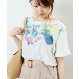 【フレームス レイカズン/frames RAY CASSIN】 衿ぐり花柄タックTシャツ