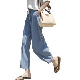 PIITE ワイドパンツ 春夏 シフォン レディース ハイウエスト サルエル ゆったり 九分丈 薄手 フレアパンツ スリム おしゃれ パンツ リボン 韓国風 キレイめ 体型カバー ファッションブルー5