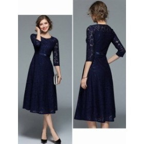 パーティードレス 結婚式ドレス レースワンピース ロング丈 袖あり お呼ばれ 二次会 タイトスカート フォーマル 上品 ブルー レッド