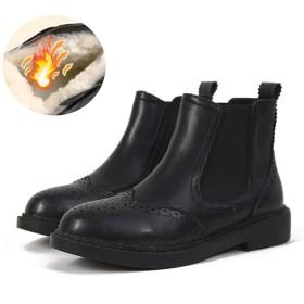 [WOOYOO] チェルシーブーツ レディース サイドゴアブーツ 美脚 ボア 冬 カジュアル ローヒール 防滑 エンジニア 革靴 防寒 フラットシューズ カジュアル 防水 ハイカット 歩きやすい 通勤 オシャレ ブラック
