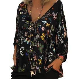 Tootess レディース秋冬印刷フライウェイルーズプラスサイズティーシャツ Black 4XL