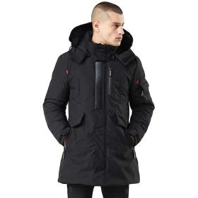 男性のダウンジャケット、三番目の店 メンズ 冬 ミ暖かい ジッパー フード付き 厚手 防風 コットン アウトレットコート