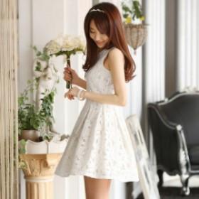 パーティー ワンピース レースワンピース 膝丈 結婚式ドレス きれいめ Aライン 韓国スタイル ノースリーブ  着痩せ オシャレ