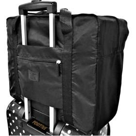 【POSITIVE】 折りたたみ ボストンバッグ 収納ポーチ付 大容量32L 機内持込可 スーツケース固定可 保証書付 ((ブラック))