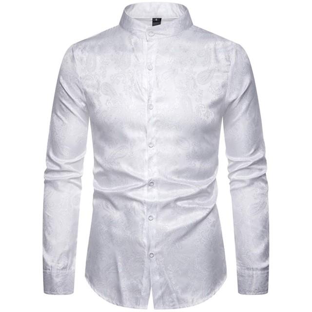 [MANMASTER(マンマスター)]長袖シャツ ワイシャツ 総柄 立ち襟 大きいサイズ ステージ衣装 メンズ CXH84 (M, ホワイト)