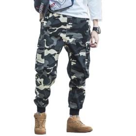 Macondoo メンズカーゴオールマッチカモトラウザージョガーマルチポケットパンツ Khaki M