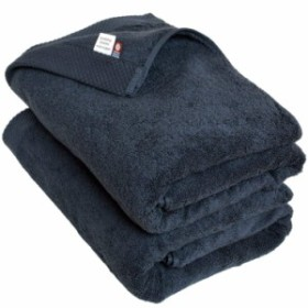 ブルーム 今治タオル 認定 シエルタオル バスタオル 同色 2枚セット ホテルタイプ 厚手 速乾 日本製 (ネイビー)
