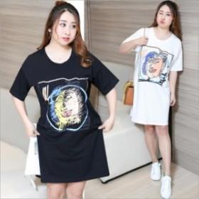 品質保証 大人気 激安 韓国ファッション 大きいサイズ 半袖 ロングTシャツレディース ?松 春夏秋 Tシャツ ワンピース 体型カバー 膝丈