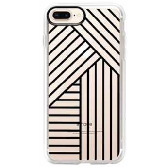 ケースティファイ CASETIFY レディース iPhone (8 Plus)ケース Stripes Transparente iPhone 6/7/8 & 7/8 Plus Case Black