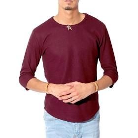 LUX STYLE(ラグスタイル) Tシャツ メンズ 7分袖トップス ロンT サーマル ワッフル ワインM