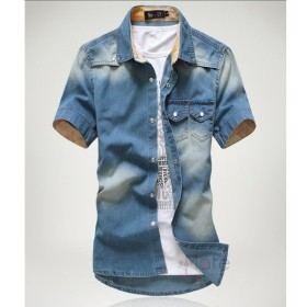 デニムシャツ メンズ 半袖 カジュアルシャツ 開襟シャツ クールビズ アメカジ 半袖シャツ おしゃれ 薄手 夏服-P323