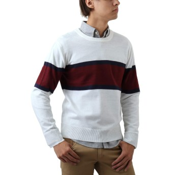 [REPIDO (リピード)] クルーネック メンズ セーター ニット カシミア カシミヤ ボーダー 丸首 アクリル 長袖 ホワイト XLサイズ