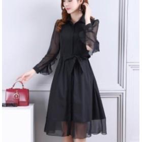 レディース ワンピース ドレス パーティードレス シャツワンピ フレア ウエストリボン シースルー フリル WS0380