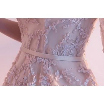 チャイナドレス 刺繍 花柄 ワンピース 大人可愛い 膝丈ドレス 披露宴 二次会 お呼ばれドレス