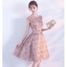 レディース ワンピース ドレス パーティードレス Aライン 半袖 ボートネック 花びら ピンク ボリューム 売れ筋 人気 華やか パーティー W