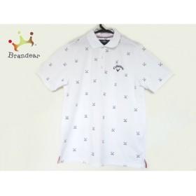 キャロウェイ CALLAWAY 半袖ポロシャツ サイズL メンズ 美品 アイボリー×ダークネイビー 刺繍 新着 20190802