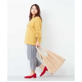 eur3 【大きいサイズ】プチプラ!軽くて暖かい!袖リボントップス Tシャツ・カットソー,マスタード