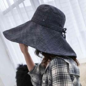 折りたたみ ハット サファリハット UVカット 帽子 女優帽 つば広 レディース 綿麻 帽子 つば広ハット 紫外線 つば広 帽子