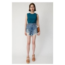 マウジー moussy CUT OFF DENIM SHORT (ブルー)