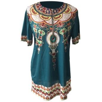 Deylaying メンズ アフリカ 伝統 スタイル トップス部族シャツ印刷 Tシャツ 半袖服装 Dashiki