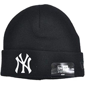 ニューエラ ニット帽 NEW ERA Kid's ベーシック カフニット ヤンキース ブラック × ホワイト 11182781 キッズ 帽子 ビーニー ロゴ 刺繍|フリー ブラック×ホワイト