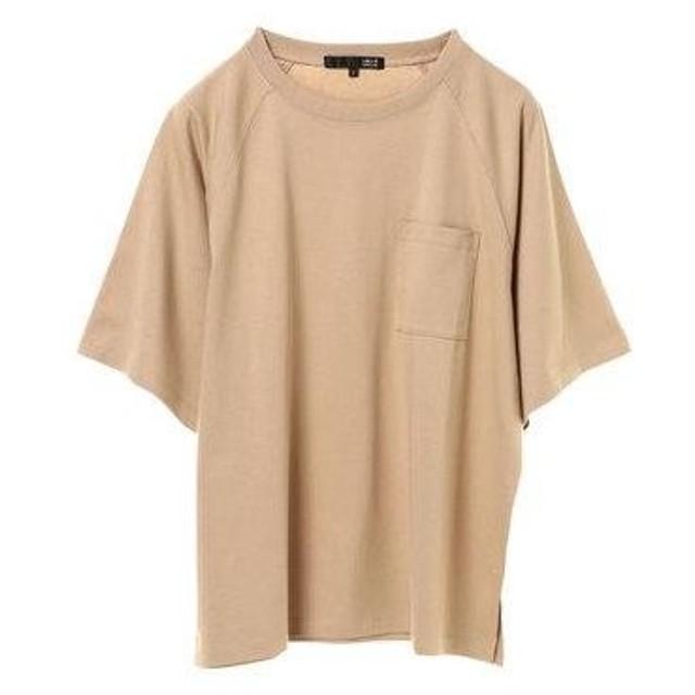 グリーンパークス Green Parks ポケット付5分袖ワイドラグランTシャツ (Beige)