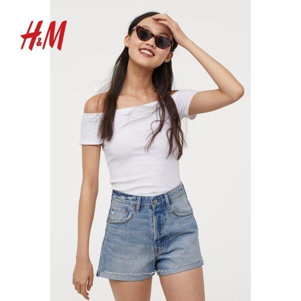一字肩上衣H&M DIVIDED女裝 時尚一字肩女T恤羅紋露肩修身上衣 coco衣巷