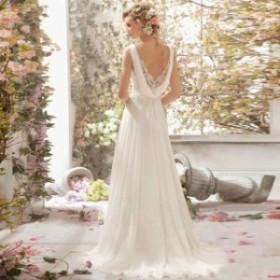 ウェディングドレス 結婚式ワンピース きれいめ 花嫁 ドレス フォーマルドレス 着痩せ ハイウエスト Aラインワンピース 白ドレス