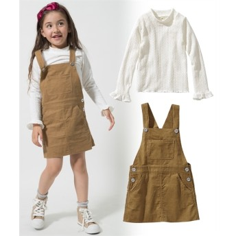 2点セット(Tシャツ+ジャンパースカート)(女の子 子供服。ジュニア服) (オールインワン)