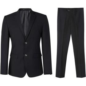 Jearey スーツ メンズ 上下セット ビジネススーツ 2ツボタン 大きいサイズ 就職スーツ オールシーズン 面接 結婚式 フォーマル パーティー 無地 黒 ネイビー グレー (ブラック, 2XL)
