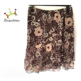 ベアトリス BEATRICE スカート サイズM レディース 美品 ダークブラウン×ピンク×パープル 花柄 新着 20190802