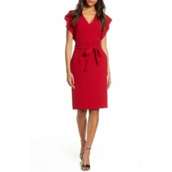 エリザジェイ ELIZA J レディース ワンピース ワンピース・ドレス Ruffle Sleeve Sheath Dress Garnet
