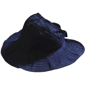 夏にピッタリ 折りたためる帽子 親子ペア ハット ペア UVカット 親子 日焼け防止 キッズ ハット レディース おやこ メンズ バケット ハット KIDS こども つば広 帽子 UVカット 無地 エアリー中折れハット 軽い 紫外線対策 全14色 (キッズ, ネイビー)