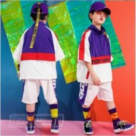 送料無料 キッズダンス衣装 ヒップホップ トップス ショートパンツ 女の子 男の子 子供 HIPHOPセットアップ ジャズダンス 練習着 団体服