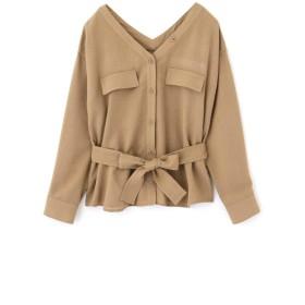 【公式/JILL by JILLSTUART】Vシャツジャケット/女性/ジャケット/ブラウン/サイズ:S/レーヨン 75% ナイロン 25%