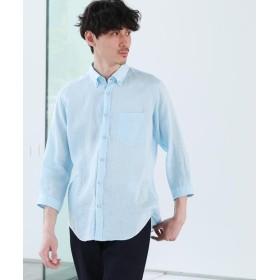 TAKEO KIKUCHI(タケオキクチ) リネン ボタンダウン 7分袖 シャツ