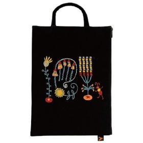 [マタノアツコ] 【 アツコマタノ 】 刺繍フラットポーチ(メロディー) 【B】ブラック