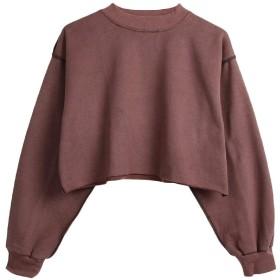 VITryst Women Long-sleeve Mini Casual Cropped Pullover Sweatshirt Wine Red S