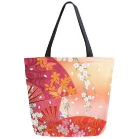 キャンバス トートバッグ 扇と花 ファッション 大容量 B4 肩掛け 多機能 通勤通学 買い物袋 旅行 かわいい