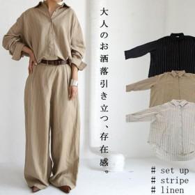 トップス レディース 長袖 羽織り ジャケット リネン ストライプシャツジャケット・(100)メール便可