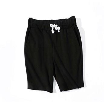 MyMei ズボン 短パン ショートパンツ ビーチパンツ メンズ服 男子ウェア カジュアル スポーツウェア ゆったり 大きいサイズ 春夏ウェア 無地 通気性 (M, 黒)