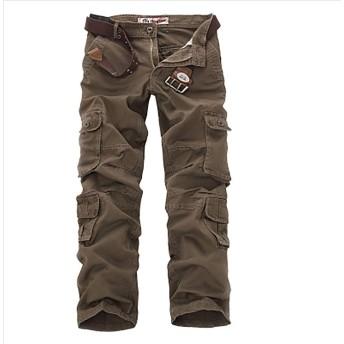 wanghong メンズ カジュアル 4color 大きいサイズ ミリタリー 多機能 ベーシック ワーク ロング パンツ カーゴ パンツ 6ポケット