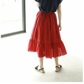 【coen:スカート】【セットアップ対応】ギャザーエンブロイダリーロングスカート