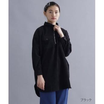 (merlot/メルロー)【IKYU】 コーデュロイハーフジップロングシャツ/レディース ブラック