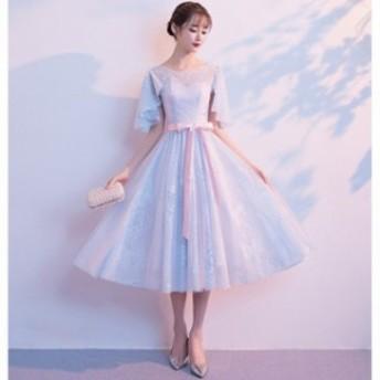 パーティードレス ミモレ丈 結婚式 ドレス 卒業式 大人 フォーマルドレス ウェディングドレス 二次会ドレス ミディアムドレス