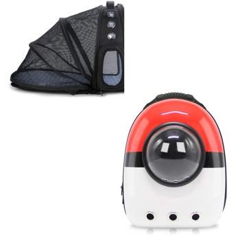 ダブルショルダーバッグペットバックパックウォーキングスペースカプセル透明通気性バックパック屋外ポータブル猫と犬バックパックペットバッグキャリア大容量拡張可能