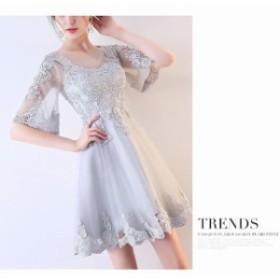 パーティードレス 袖あり 結婚式 ドレスドレス ウェディングドレス膝丈ドレス 発表会 パーティドレス お呼ばれ ミニドレス