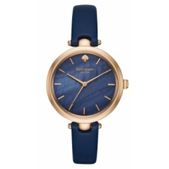 ケイト スペード KATE SPADE NEW YORK レディース 腕時計 'holland' round leather strap watch, 34mm Blue/Mother Of Pearl