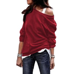 Fly Year-JP 女性ファッション固体スリムセクシー丸首プルオーバースウェットシャツブラウストップス Wine Red S